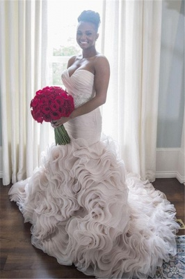 Sweetheart Sleeveless Ruffles Court-Train Open Back Organza Sheath Wave-Design Wedding Dress_2