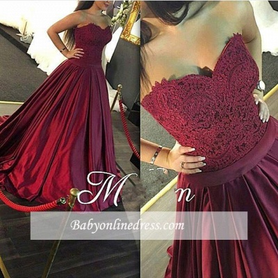 Sweetheart-Neck Marron Long Puffy Lace Evening Gowns_3