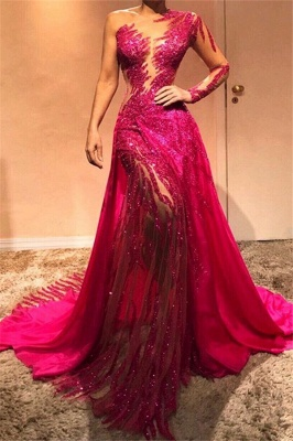 One Sleeve Hot Pink Sexy Fit and Flare Prom Dresses | Mermaid Long Evening Dresses