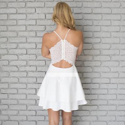 Lace Mini Spaghetti-Strap Cute Sleeveless White Homecoming Dress_3