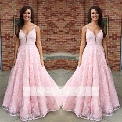 Elegant Pink V-Neck Prom Dress 2018 Sleeveless Lace Crystal Evening Gowns_1