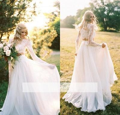 Two-Piece Long-Sleeves Chiffon Lace A-line Elegant Wedding Dresses_1