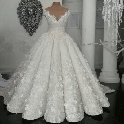 Elegant Sleeveless Beaded Ball Gown Wedding Dresses  with Handmade Flowers_3