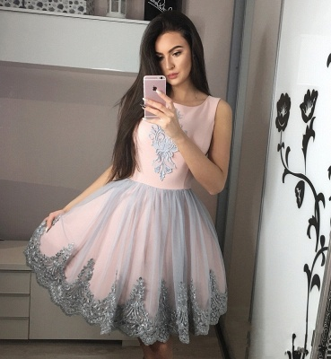 Exquisite A-Line Homecoming Dresses | Scoop Sleeveless Applique Short Cocktail Dresses_4