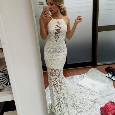 Lace White Long Mermaid Elegant Jewel Prom Dresses_3