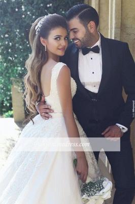 Elegant New Tulle Square Sleeveless Appliques Wedding Ball Dresses_1