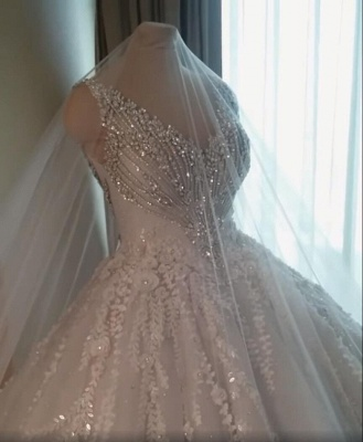 Luxury Crystal Ball Gown Wedding Dresses | Sleeveless Bridal Gowns_5