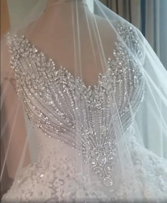 Luxury Crystal Ball Gown Wedding Dresses | Sleeveless Bridal Gowns_4