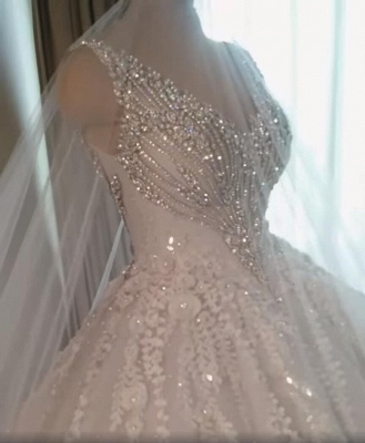 Luxury Crystal Ball Gown Wedding Dresses | Sleeveless Bridal Gowns_3