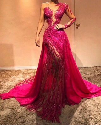 One Sleeve Hot Pink Sexy Fit and Flare Prom Dresses | Mermaid Long Evening Dresses_2