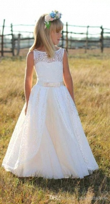 Jewel Cute Lace White Cheap Flower Girl Dresses with Sash_3
