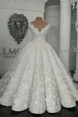 Elegant Sleeveless Beaded Ball Gown Wedding Dresses  with Handmade Flowers