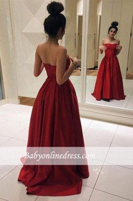 Sleeveless Strapless Red Elegant A-line Floor-length Prom Dress_1
