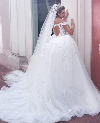 Vintage Ball Gown Wedding Dresses Off the Shoulder Sweetheart Open Back Lace Vestido De Novia_4