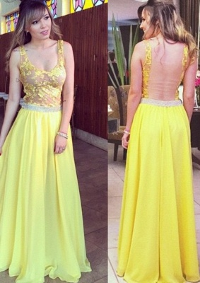 Lace A-line Hollow Yellow Floor-length Elegant Chiffon Straps Prom Dress_3
