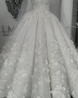 Elegant Sleeveless Beaded Ball Gown Wedding Dresses  with Handmade Flowers_6