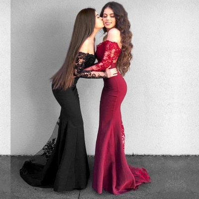Sexy Off-The-Shoulder Mermaid Prom Dresses   Long Sleeves Lace Evening Dresses_3