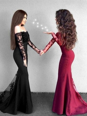 Sexy Off-The-Shoulder Mermaid Prom Dresses   Long Sleeves Lace Evening Dresses_1