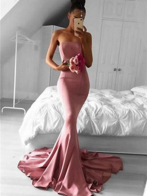Simple Mermaid Evening Dresses | Strapless Long Prom Dresses_3