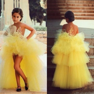 Yellow Hi-lo Girl's Pageant Dresses Tiers Tulle Sheer Flower Applique Girl Formal Dresses_3