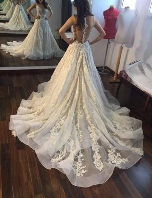 Gorgeous Sleeveless Princess Lace Appliques Wedding Dresses_3