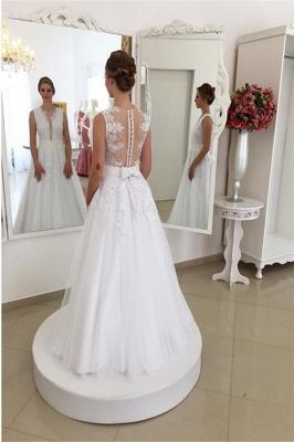 Appliques Elegant Bowknot Lace V-Neck Beadings Wedding Dresses_5