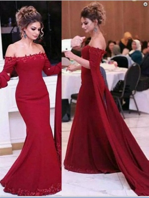 Burgundy Off-shoulder Watteau Train Lace Appliques Mermaid Evening Dresses_2