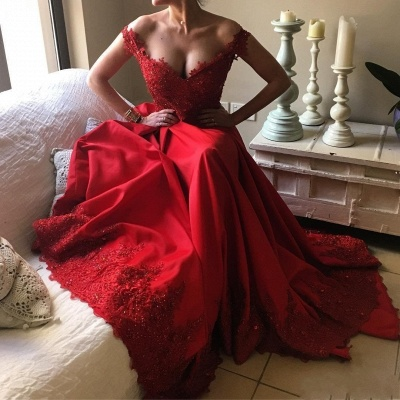 Red Lace Off-the-Shoulder Evening Gowns | Off-the-Shoulder Beading Prom Dresses_4