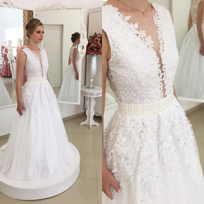 Appliques Elegant Bowknot Lace V-Neck Beadings Wedding Dresses_3