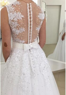 Appliques Elegant Bowknot Lace V-Neck Beadings Wedding Dresses_4