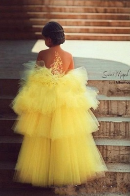 Yellow Hi-lo Girl's Pageant Dresses Tiers Tulle Sheer Flower Applique Girl Formal Dresses_2
