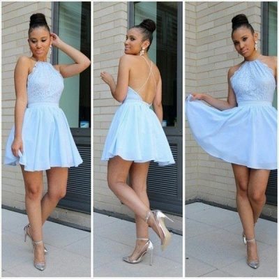 Cheap Halter A-line Homecoming Dresses Backless Lace Chiffon Cocktail Dress_3
