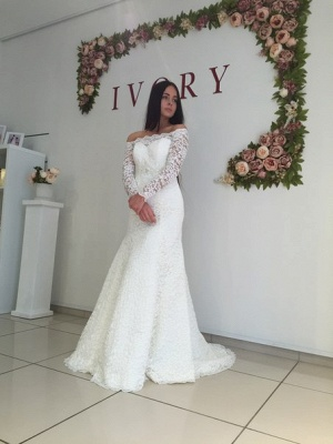 White Lace Modest Long-Sleeve Off-the-shoulder Mermaid Sweep-Train Wedding Dress_2