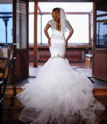Unique Jewel Cap Sleeve Beaded Ruffles Mermaid Fitted Wedding Dress_2