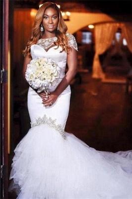 Unique Jewel Cap Sleeve Beaded Ruffles Mermaid Fitted Wedding Dress_1