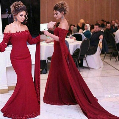 Burgundy Off-shoulder Watteau Train Lace Appliques Mermaid Evening Dresses_3