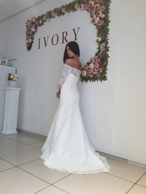 White Lace Modest Long-Sleeve Off-the-shoulder Mermaid Sweep-Train Wedding Dress_3