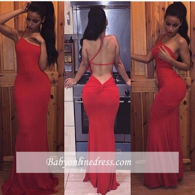 Sexy Long Sleeveless Evening Gowns Spaghetti Strap Bodycon Prom Dress_1