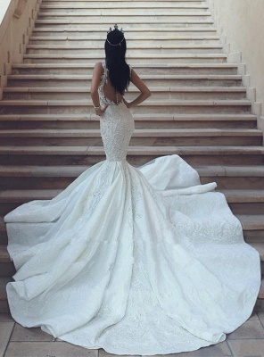 Sexy V-Neck Mermaid Wedding Dresses | Lace Appliques Open Back Bridal Gowns_4