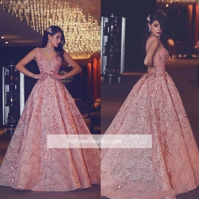 V-Neck Beading Flowers Lace Luxury Puffy Pink Evening Gowns_4