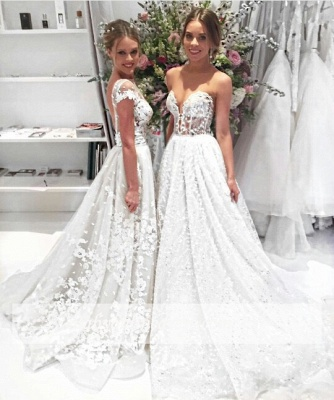 Appliques Cap-Sleeves Open-Back Illusion Lace Popular Overskirt Wedding Dress_3