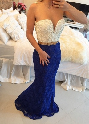 Pearls Top Lace Mermaid Prom Dresses White and Royal Blue Long Formal Evening Gowns_1