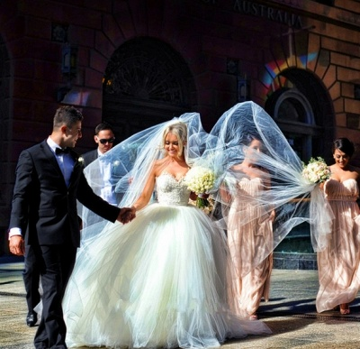 Sweetheart Lace Beaded Puffy Ball Gown Tulle Princess Wedding Dresses_4