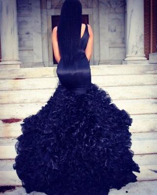 Alluring Mermaid Long Evening Dresses Ruffles Organza Prom Dress_3