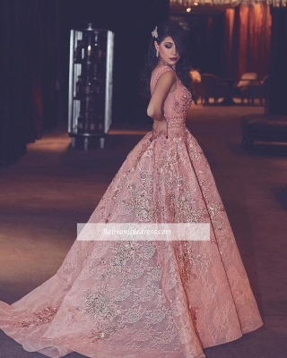V-Neck Beading Flowers Lace Luxury Puffy Pink Evening Gowns_3