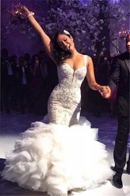 Ruffles Spaghetti Straps Tulle Crystal Mermaid Wedding Dresses_2