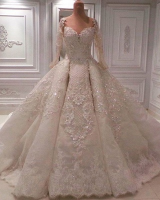 Luxury Lace Ball Gown Wedding Dresses | 2020 Bridal Gowns with Sleeves_1
