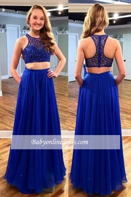2018 Royal Blue Two piece Sleeveless Long Jewel Newest Prom Dress with Beadings_3