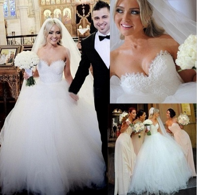 Sweetheart Lace Beaded Puffy Ball Gown Tulle Princess Wedding Dresses_2