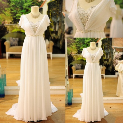 Chiffon A-line Wedding Dresses Capped Sleeves Crystals White Long Formal Evening Gowns_3